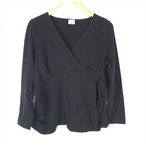 Motherhood Maternity Black V Neck Cotton Shirt XL